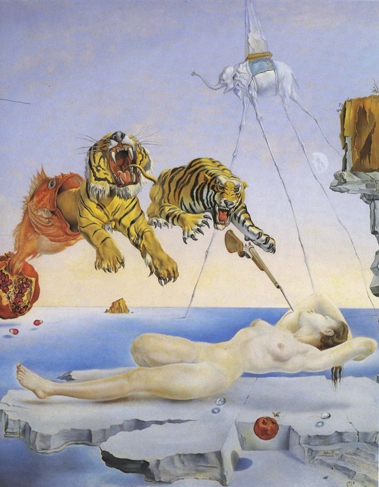 Salvador Dali Reproductions-Dream Caused by the flight of a Bee around a Pomegranate