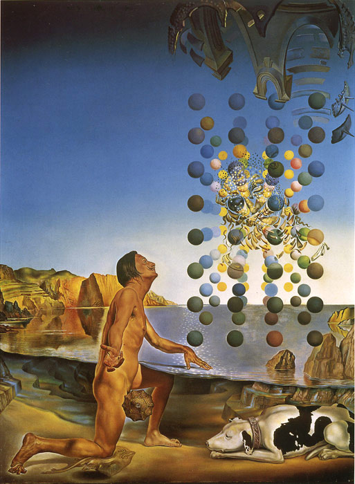 Salvador Dali Reproductions-Dali Nude Contemplating before the Five Regular Bodies 1954
