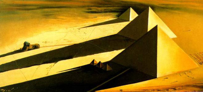 Salvador Dali Reproductions-The Pyramids and the Sphinx of Gizeh, 1954