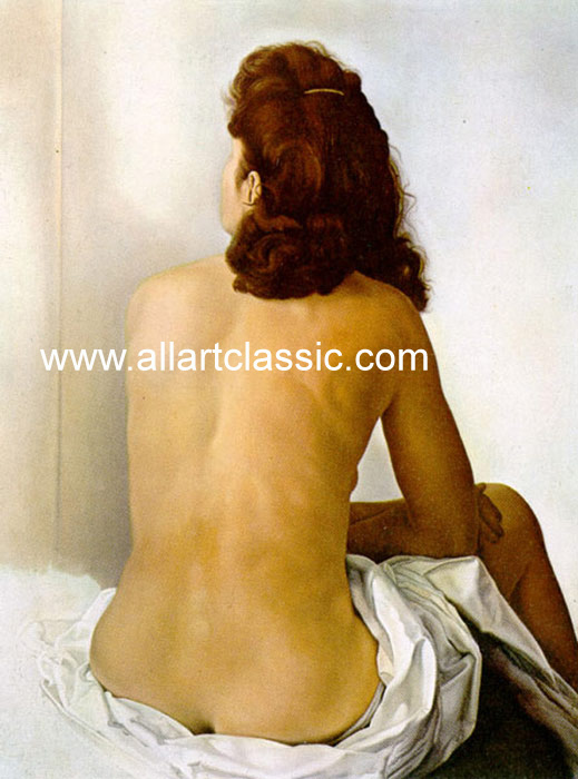 Salvador Dali Reproductions-Gala Nude From Behind Looking in an Invisible Mirror, 1960