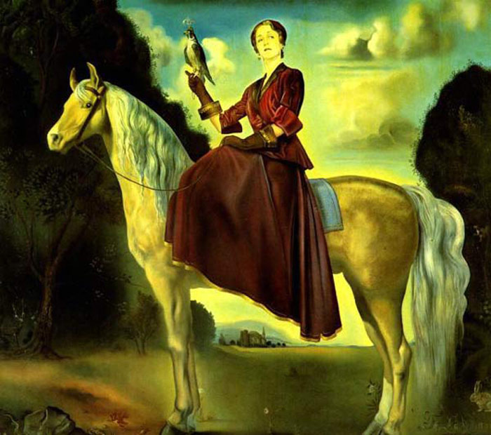 Paintings Reproductions Dali, Salvador Equestrian Fantasy - Portrait of Lady Dunn, 1954