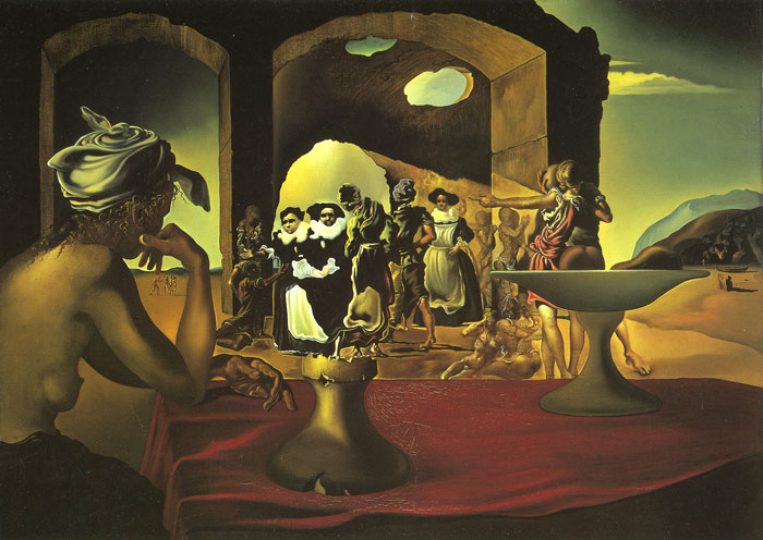 Salvador Dali Reproductions-Slave Market with the Disappearing Bust of Voltair, 1940