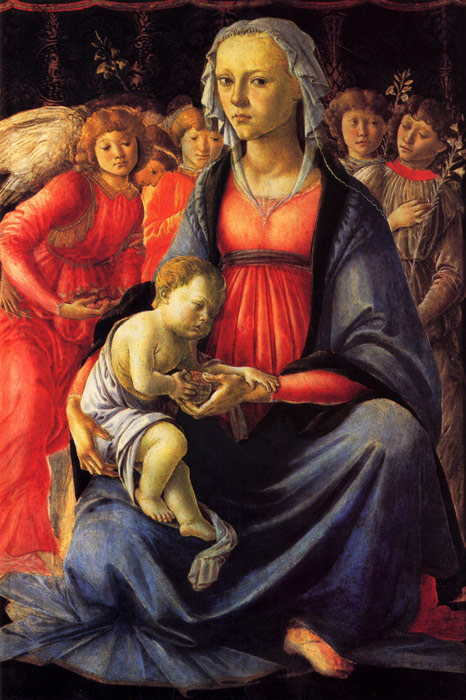 Sandro Botticelli Reproductions-The Virgin and Child with Five Angels