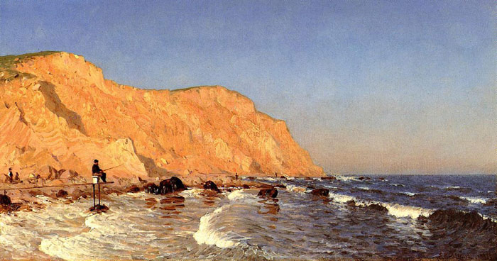 Sanford Robinson Gifford  Reproductions-Clay Bluffs on No Man's Land, 1877