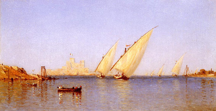 Fishing Boats coming into Brindisi Harbor, 1874 Gifford, Sanford Robinson Painting Reproductions