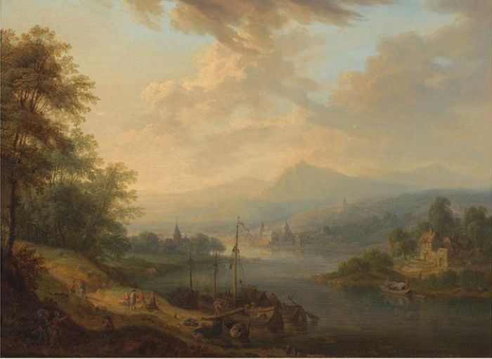 Paintings Reproductions Schutz, Christian Georg Rhenish river landscapes: Dawn and Dusk , First Part