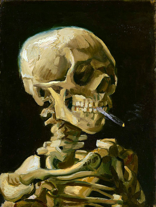 Paintings Reproductions Vincent van Gogh Head of a skeleton with a burning cigarette, 1886