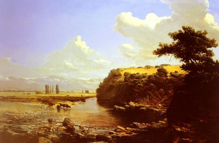 Thomas Jacques Somerscales Reproductions-Cattle watering in a River Landscape, believed to be Chile, 1887