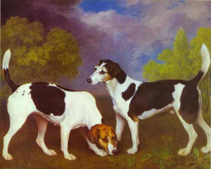 George Stubbs Reproductions-Hound and Bitch in a Landscape, 1972