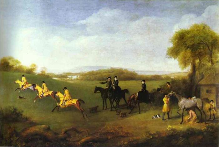 George Stubbs Reproductions-Racehorses Belonging to the Duke of Richmond Exercising at Goodwood, 1760