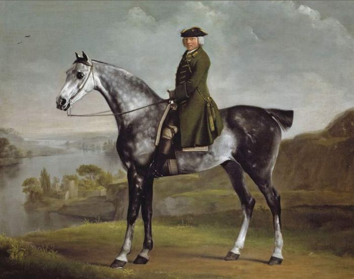 George Stubbs Reproductions-Joseph Smyth Esq, Lieutenant of Whittlebury Forest, Northamptonshire, on a dapple grey horse (1762-1764)