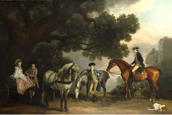 George Stubbs Reproductions-Sir Peniston and Lady Lamb, Later Lord and Lady Melbourne, with Lady Lamb's Father, Sir Ralph Milbanke, and Her Brother
