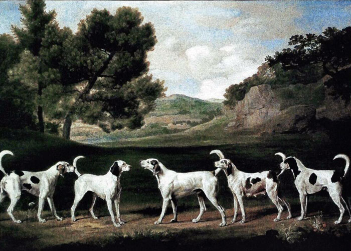 Paintings Reproductions Stubbs  George Five Staghounds in a Landscape, 1760