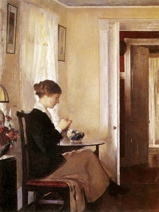 Paintings Reproductions Tarbell, Edmund Charles Josephine Knitting, 1916