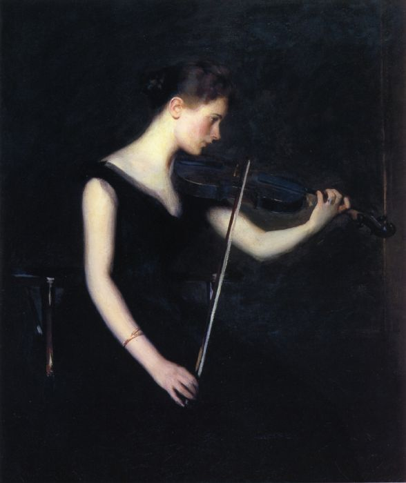 Paintings Reproductions Tarbell, Edmund Charles Girl with Violin, 1890