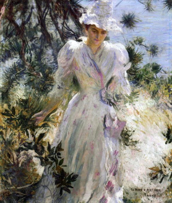 Paintings Reproductions Tarbell, Edmund Charles My Wife, Emeline, in a Garden, 1890