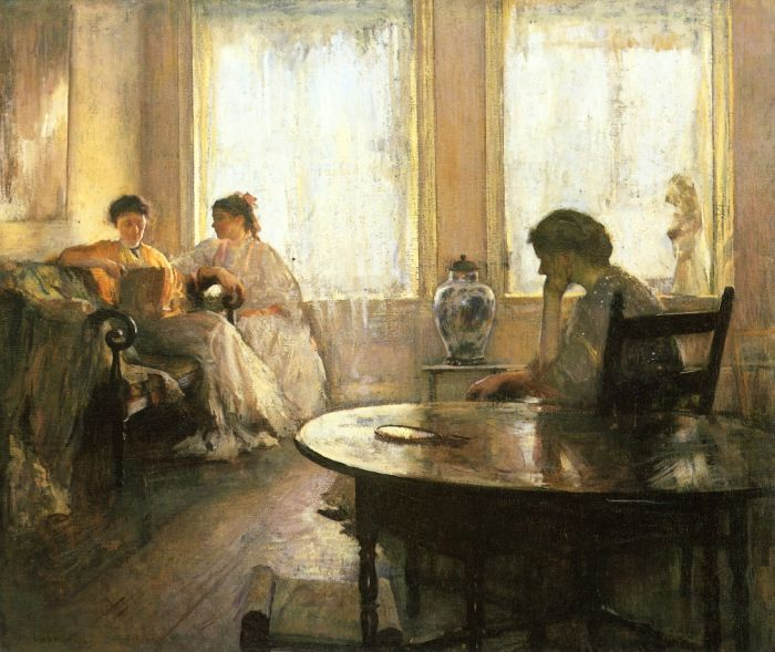 Paintings Reproductions Tarbell, Edmund Charles Three Girls Reading, 1907