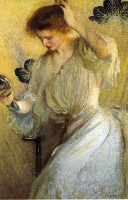 Paintings Reproductions Tarbell, Edmund Charles Girl with a Mirror, 1900