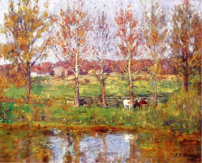Paintings Reproductions Steele, Theodore Clement Cows by the Stream, 1895