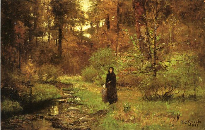 Paintings Reproductions Steele, Theodore Clement The Brook in the Woods, 1889