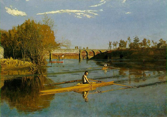 Thomas Eakins Reproductions-Max Schmitt in a Single Scull , 1871