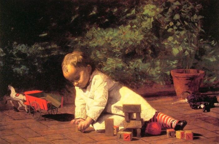 Thomas Eakins Reproductions-Baby at Play, 1876