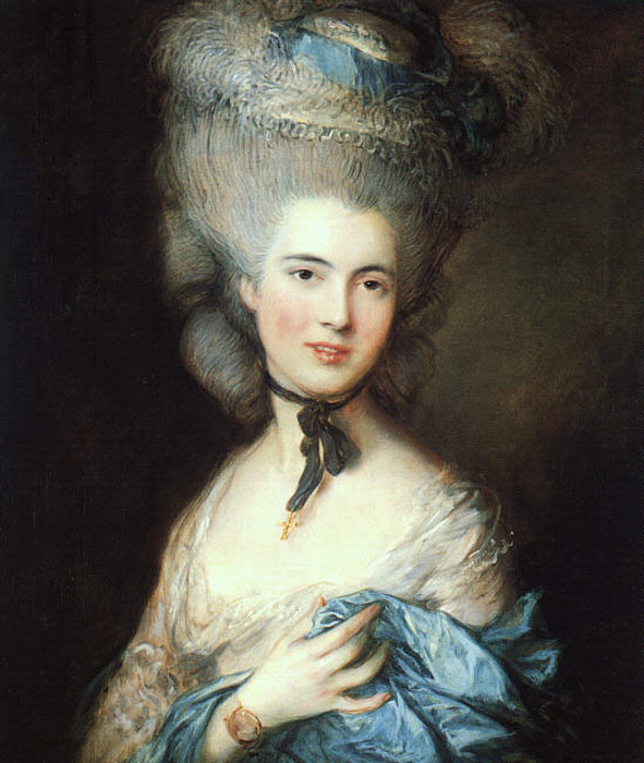 Thomas Gainsborough Reproductions-Portrait of a Lady in Blue, 1777-1779