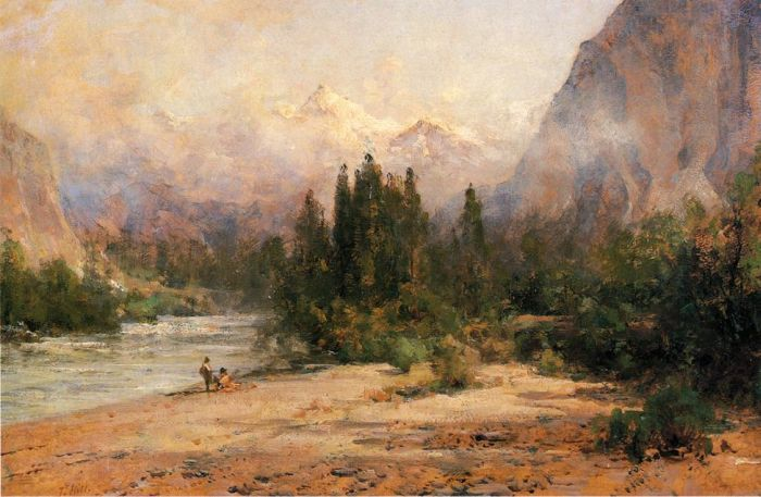Paintings Reproductions Hill, Thomas Bow River Gap at Banff, on Canadian Pacific Railroad