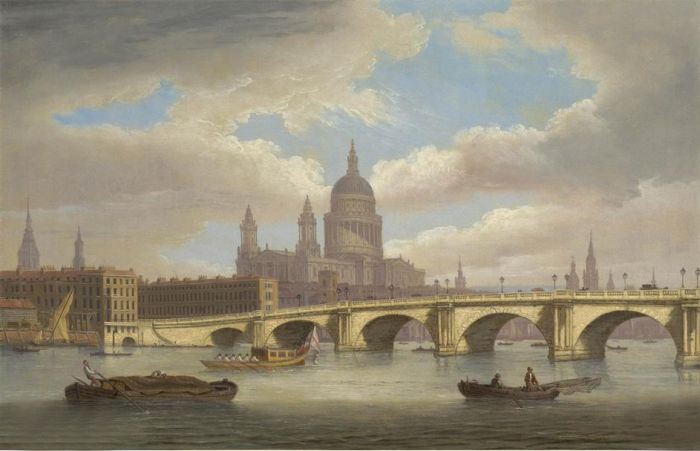 Paintings Reproductions Luny, Thomas View of the River Thames with St. Paul's Cathedral and Blackfriars Bridge, 1806