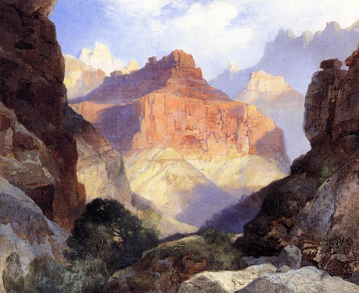 Paintings Reproductions Moran, Thomas Under the Red Wall, Grand Canyon of Arizona,  1917