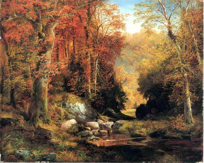 Paintings Reproductions Moran, Thomas Cresheim Glen, Wissahickon, Autumn, 1864