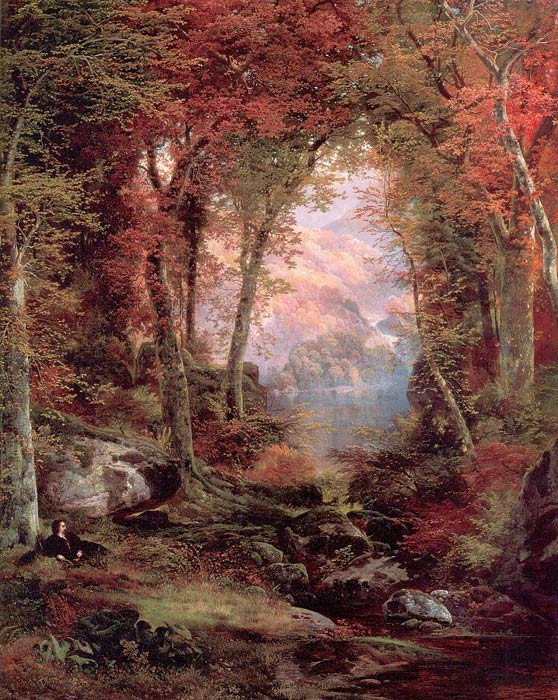 Paintings Reproductions Moran, Thomas The Autumnal Woods (Under the Trees), 1865