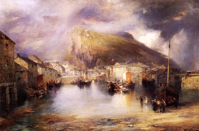 Paintings Reproductions Moran, Thomas An English Fishing Village, Polperro, Cornwall, 1907