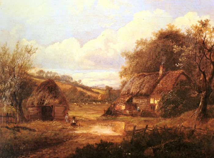 Paintings Reproductions Thors, Joseph Landscape with figures outside a thatched cottage