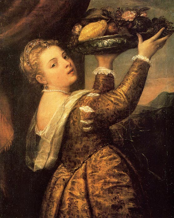 Tiziano Vicellio Titian Reproductions-Girl with a Basket of Fruits (Lavinia), 1555-1558