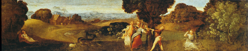 Tiziano Vicellio Titian Reproductions-The Birth of Adonis 1505-10