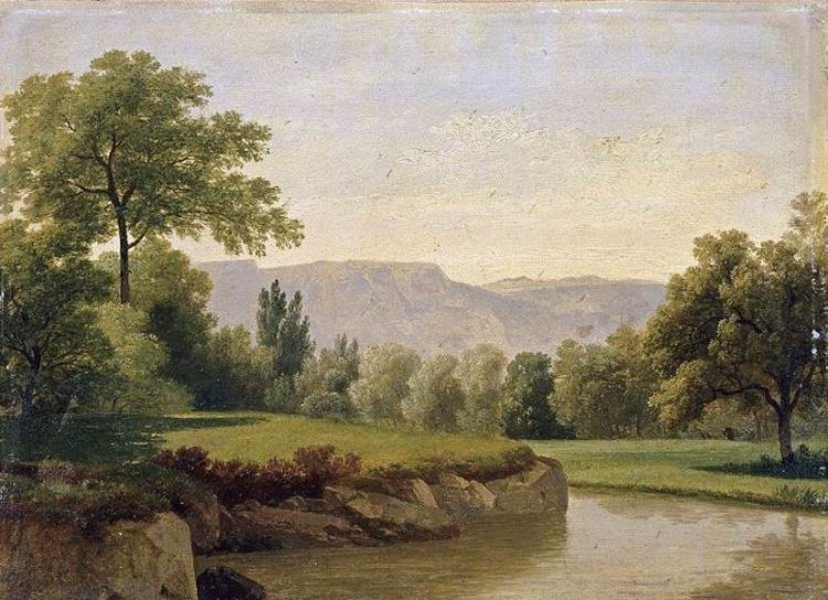 Paintings Reproductions Topffer, Adam-Wolfgang River Landscape, 1820