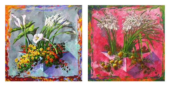Custom PaintingsReproductions-Two Painting of Flowers