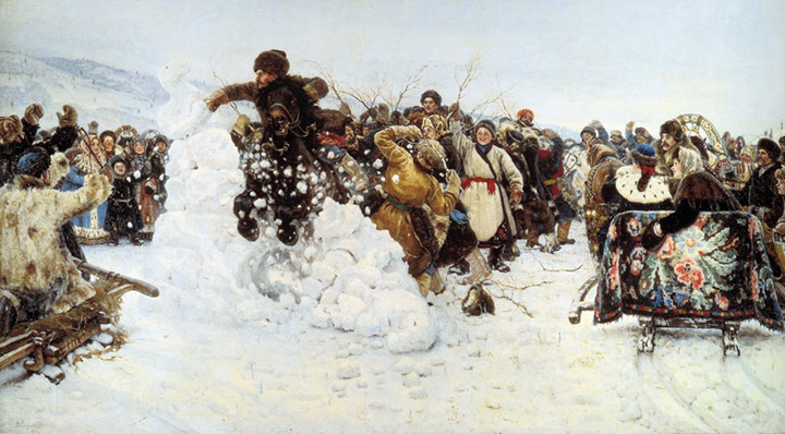 Paintings Reproductions Surikov, Vasily Ivanovich Storm of Snow Fortress. 1891