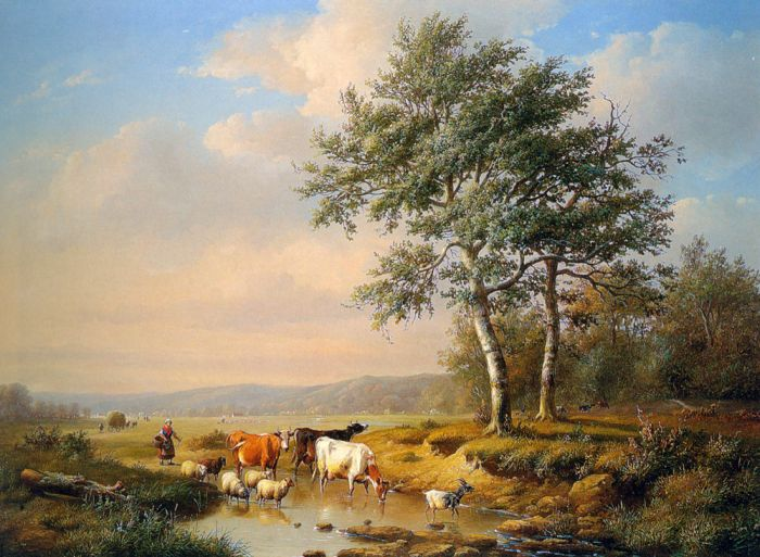 Paintings Reproductions Verwee, Louis Pierre  An Extensive Landscape with Cattle Watering , 1851