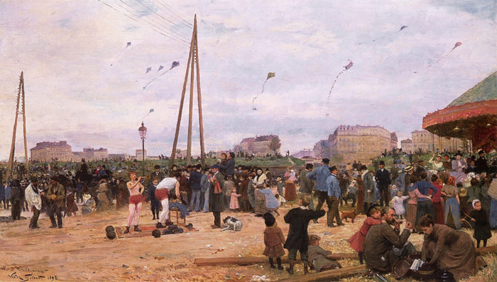 Paintings Reproductions Gilbert, Victor Gabriel The Fairgrounds at Porte de Clignancourt, Paris, 1895