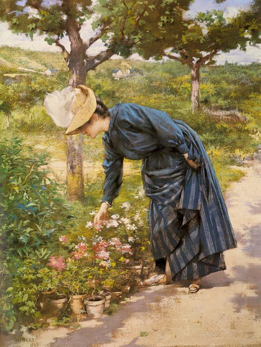 Paintings Reproductions Gilbert, Victor Gabriel Lady in a Garden, 1887