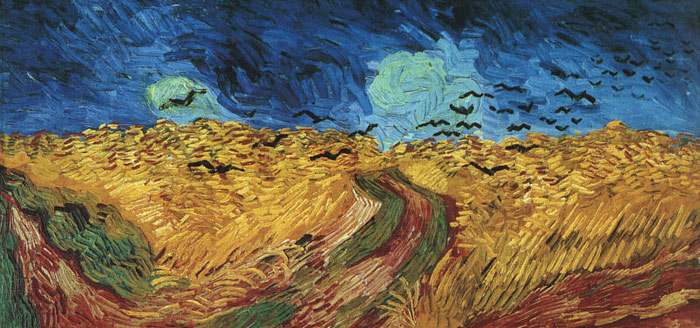 Vincent van Gogh  Reproductions-Wheatfield with Crows, 1890
