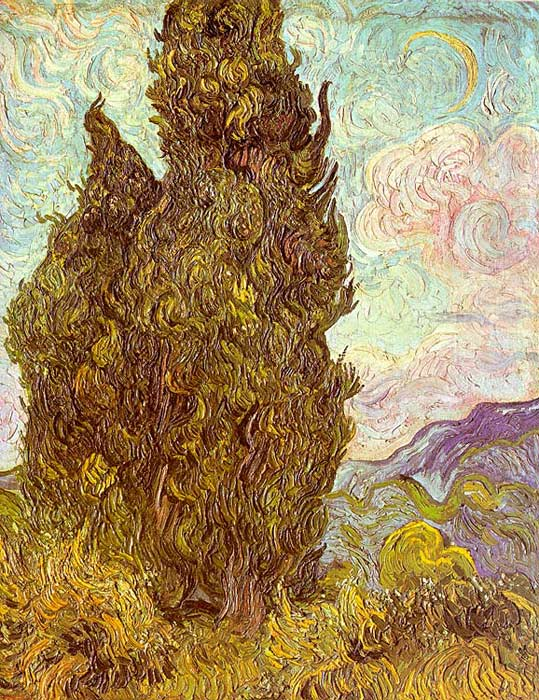 Vincent van Gogh  Reproductions-Two Cypresses, 1889