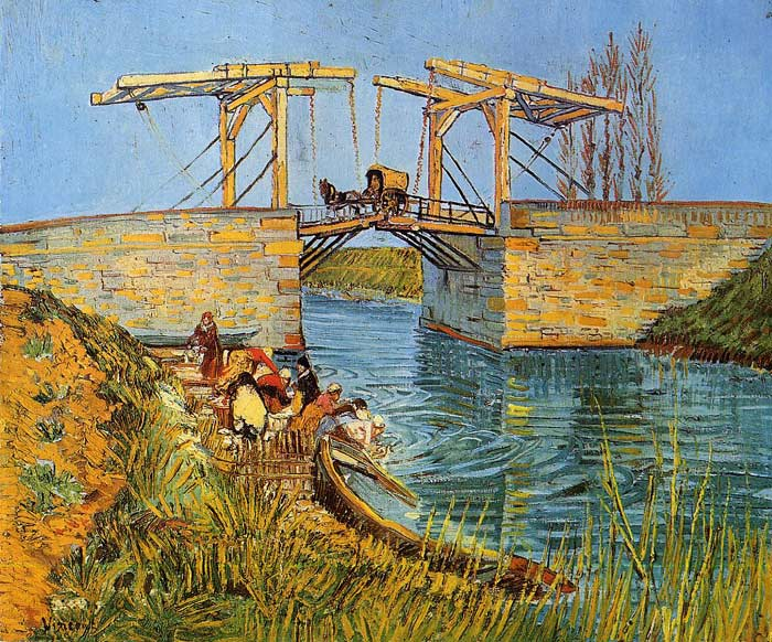 Vincent van Gogh  Reproductions-The Langlois Bridge at Arles with Women Washing, 1888