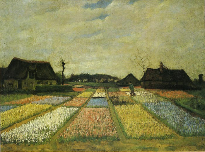 Vincent van Gogh  Reproductions-Field with Flowers, 1883
