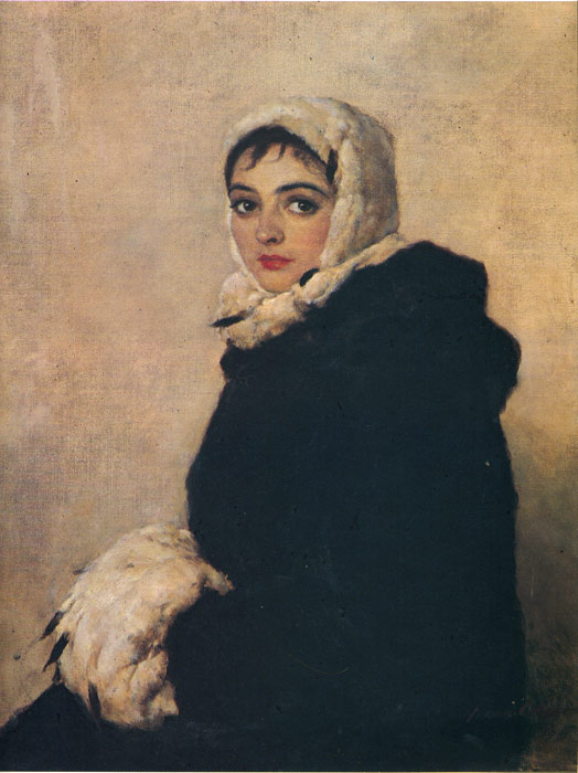 Vladimir Aleksandrovich Serov Reproductions-Portrait of the Ballerina Krasnosheeva, 1945