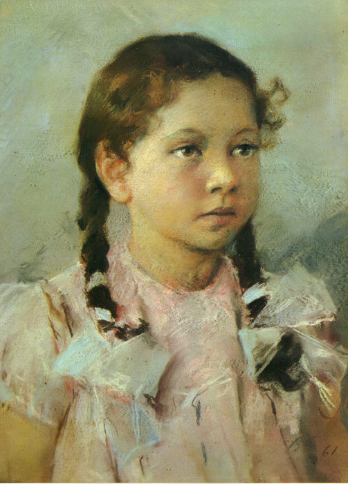 Vladimir Aleksandrovich Serov Reproductions-Portrait of a Child, 1961
