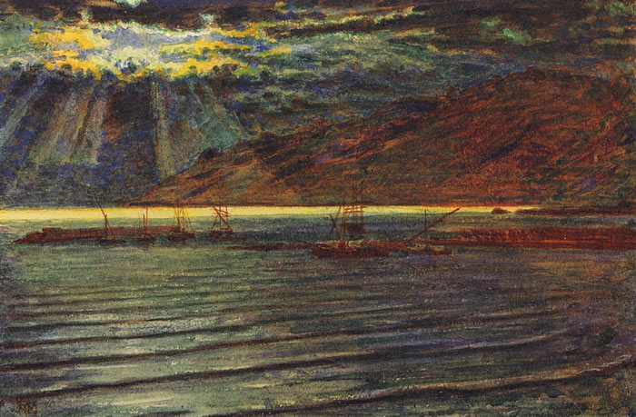 Paintings Reproductions Hunt, William Holman Fishingboats by Moonlight