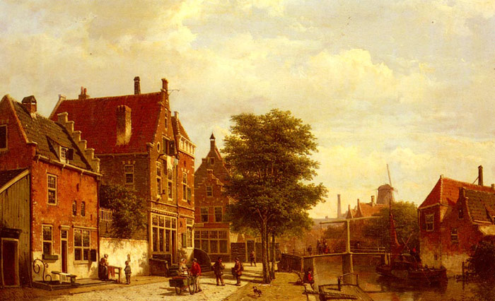 Paintings Reproductions Koekkoek, Willem Along The Canal, 1862